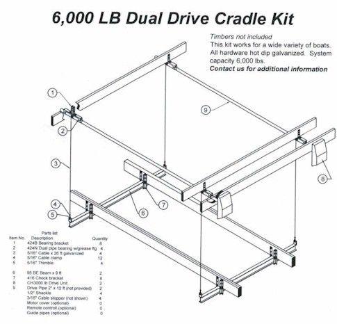 6000 lb. Wake Board Boat Cradle Kit