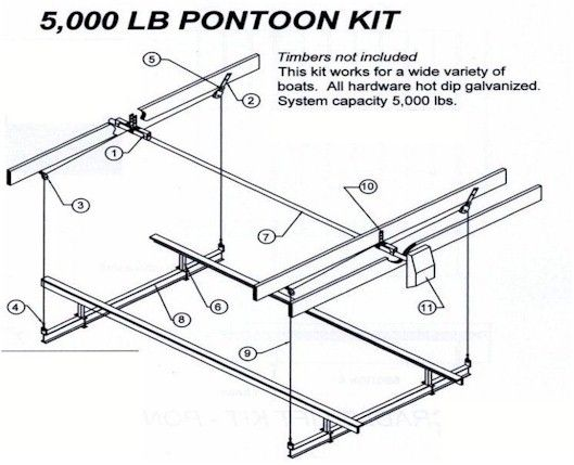 5000 lb  pontoon boat lift